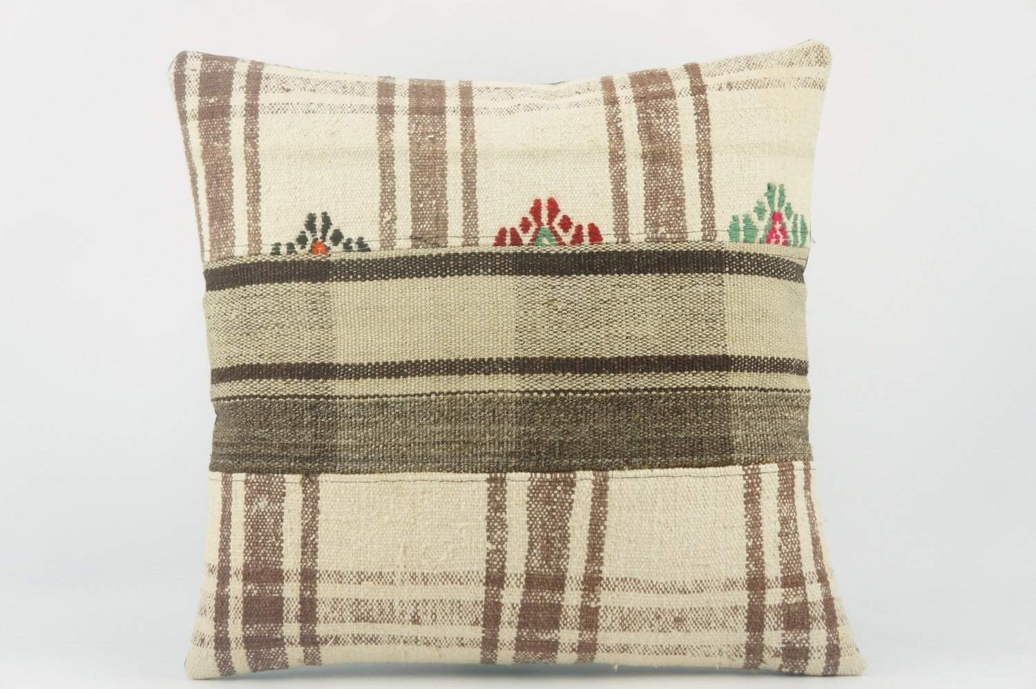 Striped Kilim pillow , Cream patchwork pillow 1487