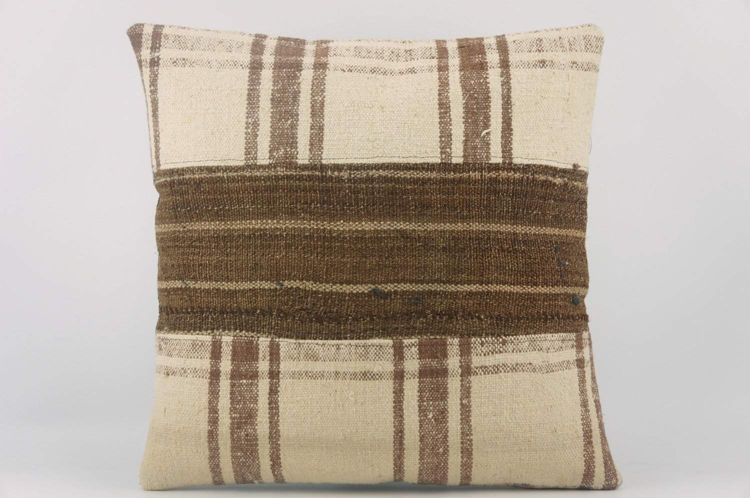 Striped Kilim pillow , Cream patchwork pillow 1488