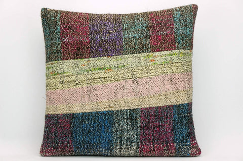 CLEARANCE Striped Kilim pillow ,  Multi colour patchwork pillow  1482 - kilimpillowstore  - 1
