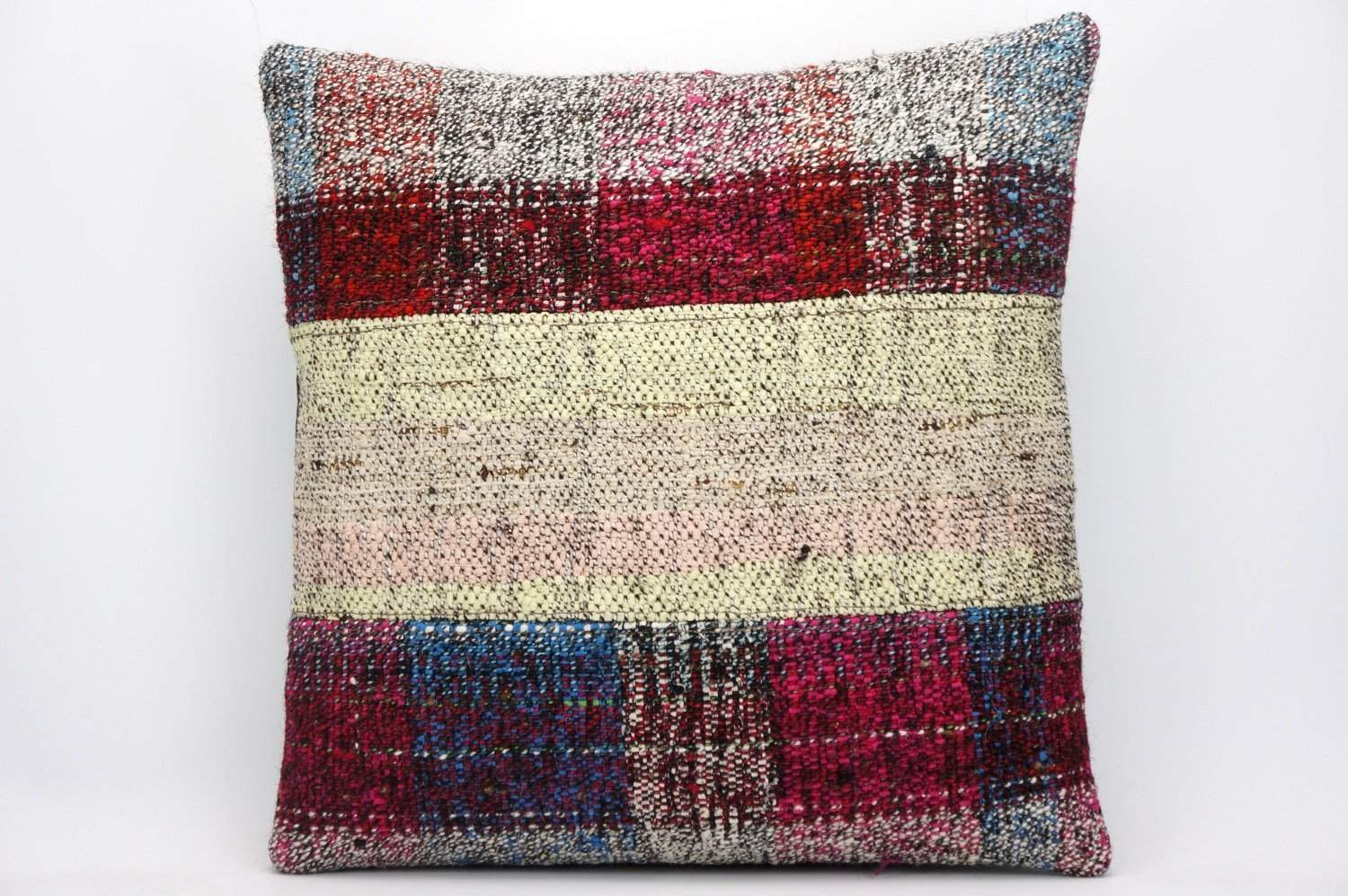 Striped Kilim pillow , Multi colour patchwork pillow 1483