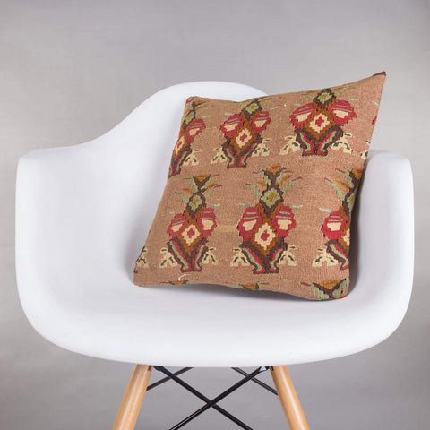 Contemporary Multi Color Kilim Pillow Cover 16x16 5154 - kilimpillowstore  - 1
