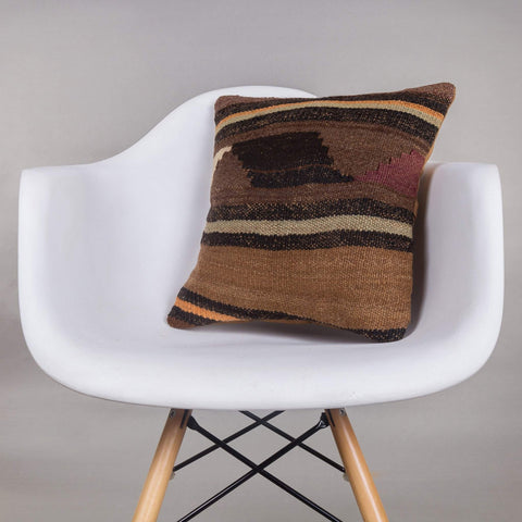 Geometric Brown Kilim Pillow Cover 16x16 4637 - kilimpillowstore  - 1