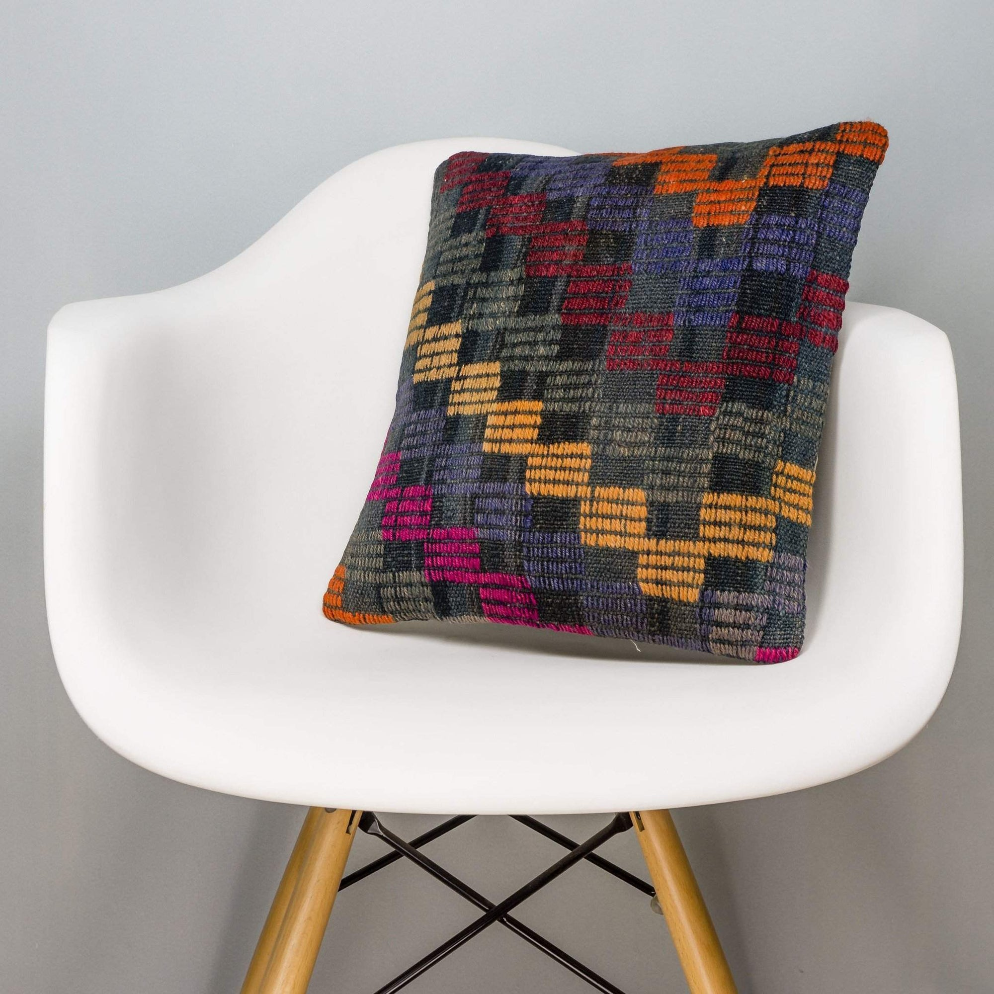 Geometric Multi Color Kilim Pillow Cover 16x16 3105 - kilimpillowstore