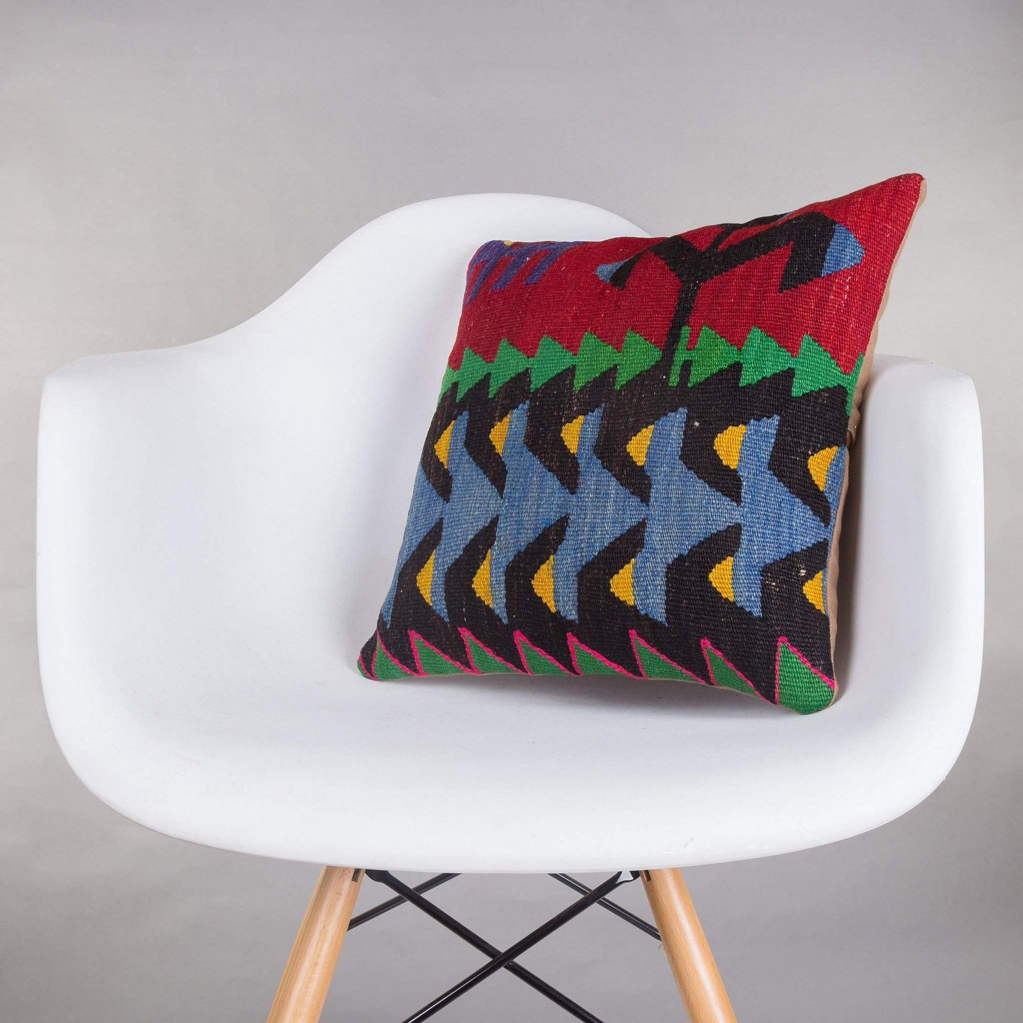 Geometric Multi Color Kilim Pillow Cover 16x16 5193