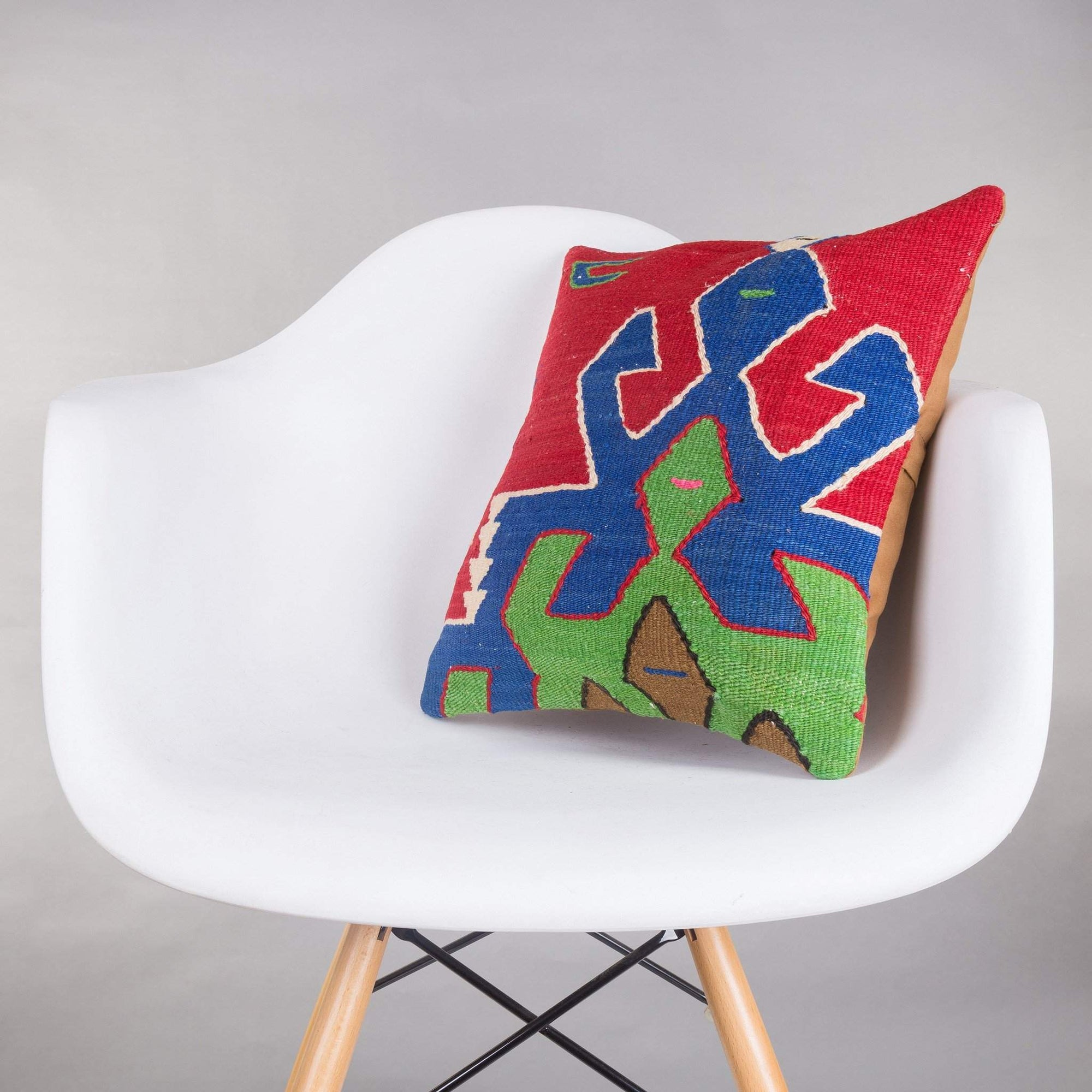 Geometric Multi Color Kilim Pillow Cover 16x16 5199