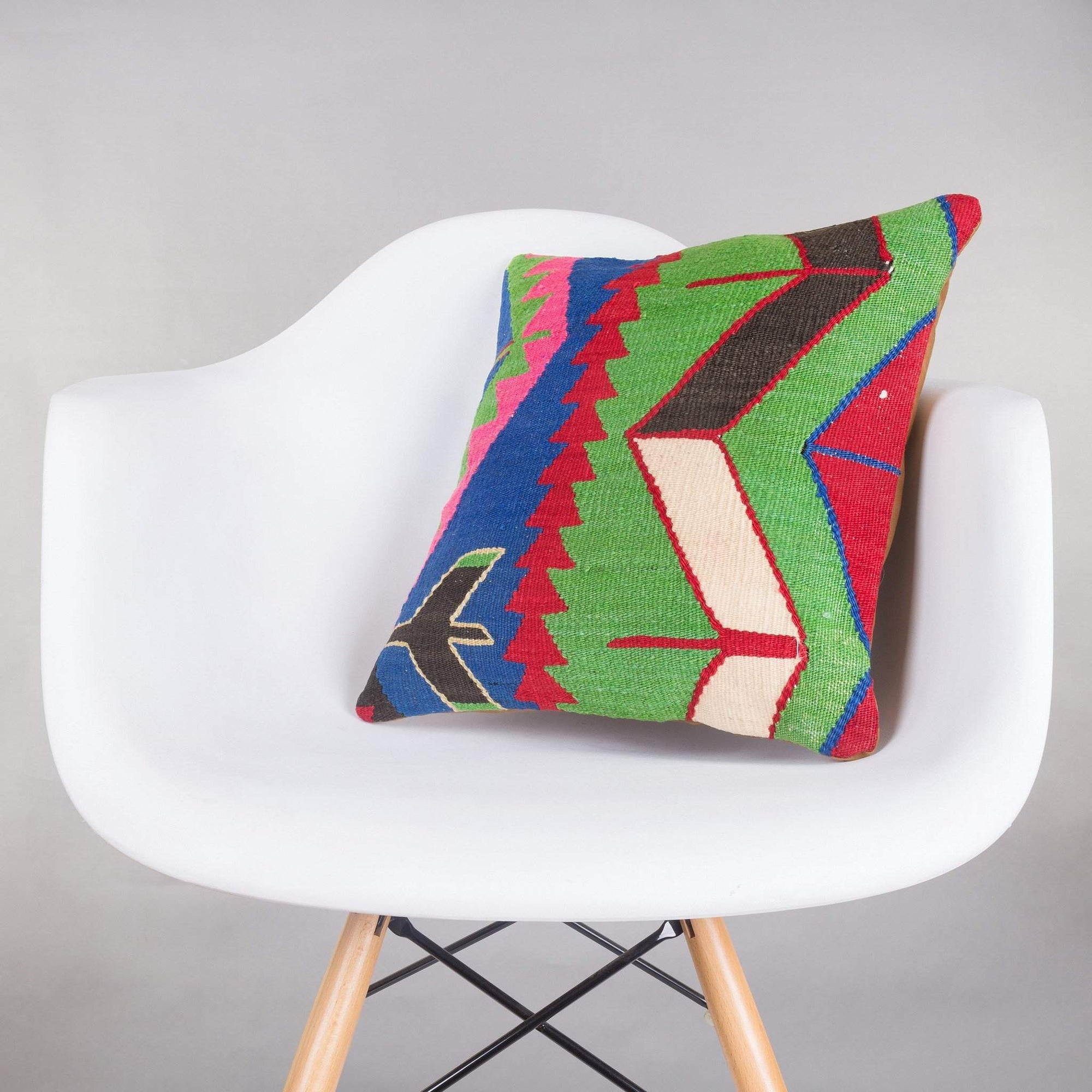 Geometric Multi Color Kilim Pillow Cover 16x16 5231