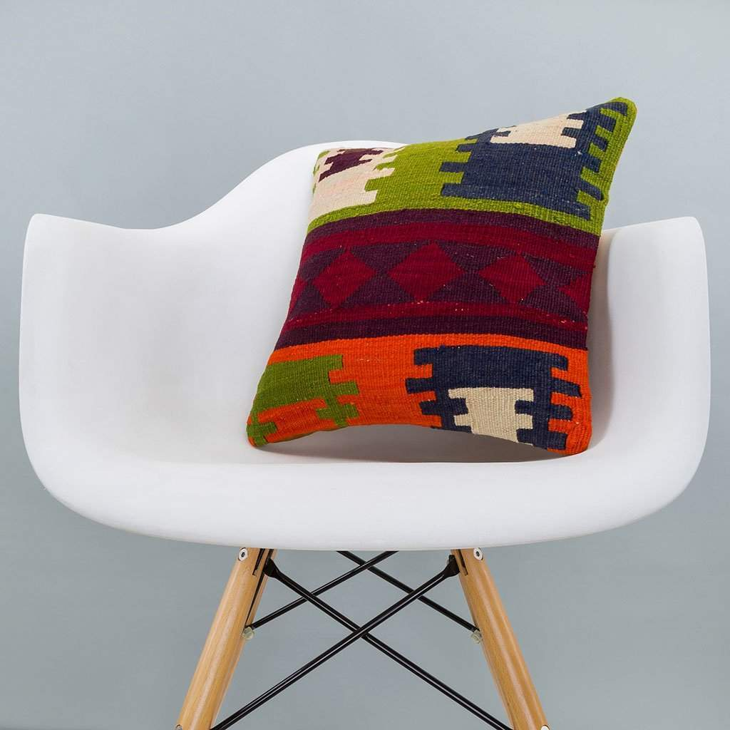 Geometric Multiple Color Kilim Pillow Cover 16x16 6268