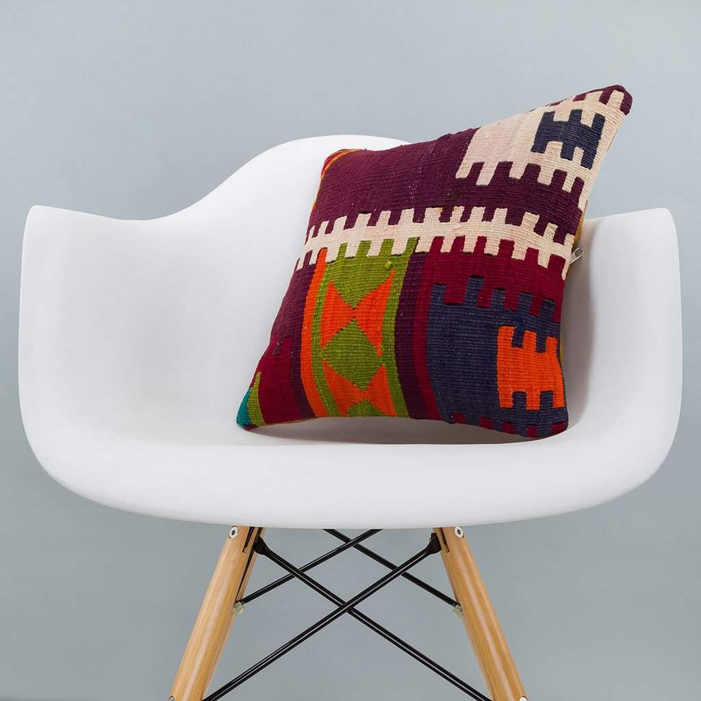 Geometric Multiple Color Kilim Pillow Cover 16x16 6269