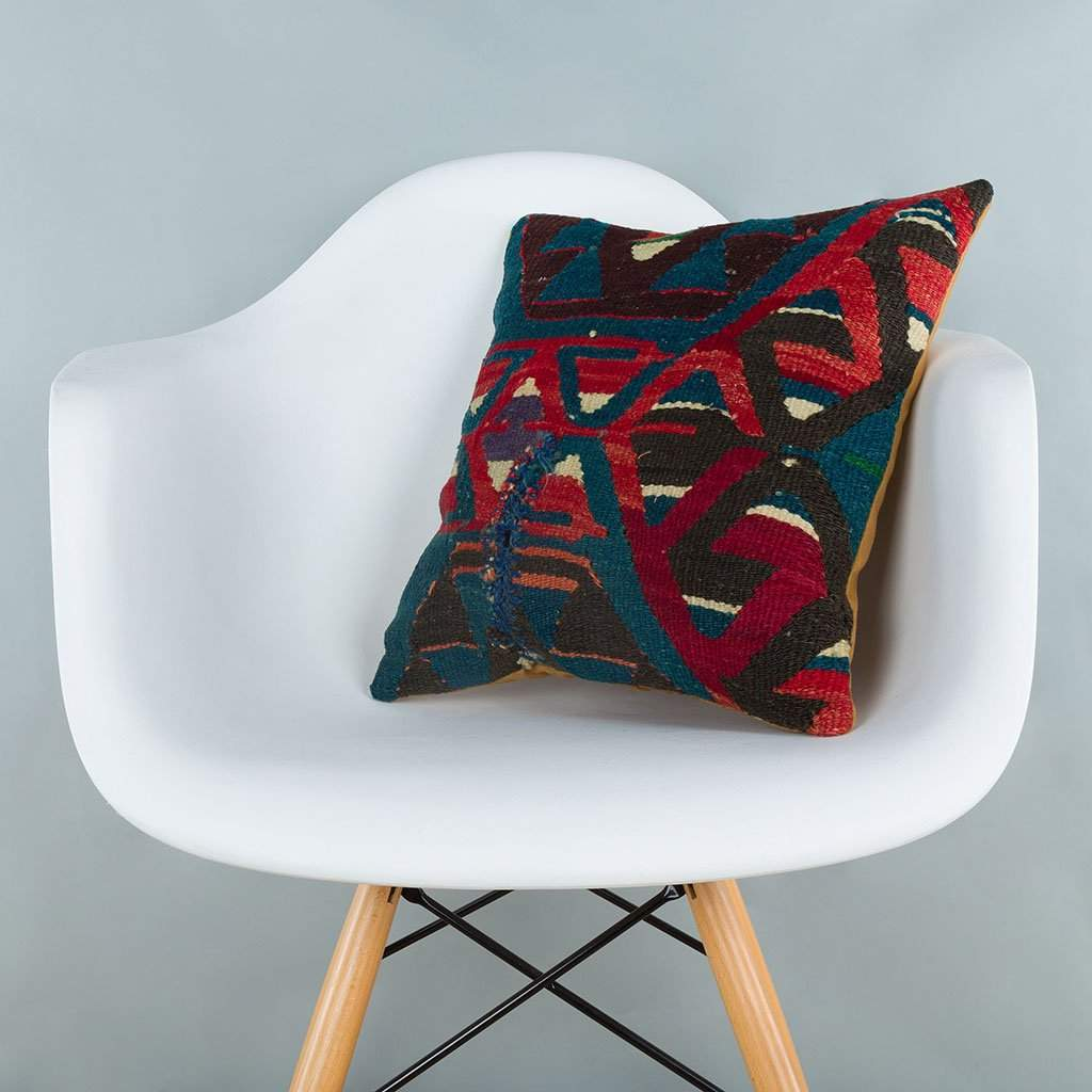 Geometric Multiple Color Kilim Pillow Cover 16x16 7190