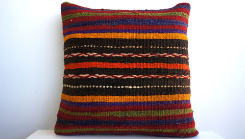 CLEARANCE 16x16 Vintage Hand Woven Turkish Kilim Pillow  - Old  Kilim Cushion 124, Red, Striped - kilimpillowstore  - 1