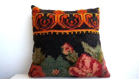 CLEARANCE 16x16 Vintage Hand Woven Turkish Kilim Pillow  - Old  Kilim Cushion 146, Red, Floral, black, orange, green, gold, moldovian, green - kilimpillowstore  - 1
