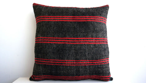 CLEARANCE 16x16 Vintage Hand Woven Turkish Kilim Pillow  - Old  Kilim Cushion 153, Red, Striped - kilimpillowstore  - 1