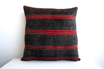 CLEARANCE 16x16 Vintage Hand Woven Turkish Kilim Pillow  - Old  Kilim Cushion 153, Red, Striped - kilimpillowstore  - 2