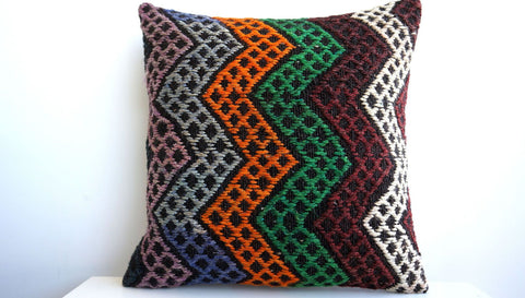 CLEARANCE 16x16 Vintage Hand Woven Turkish Kilim Pillow  - Old  Kilim Cushion 132, Chevron, green - kilimpillowstore  - 1