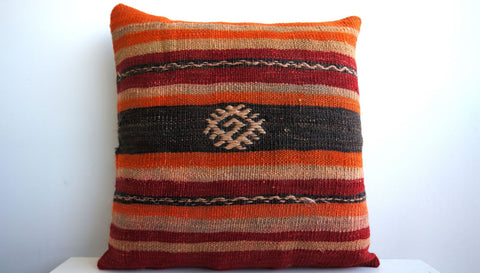 16x16 Vintage Hand Woven Turkish Kilim Pillow  - Old  Kilim Cushion 136, Red, Striped - kilimpillowstore  - 1