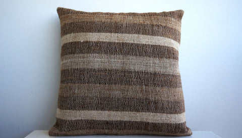 CLEARANCE Striped Brown pillow cover  141 - kilimpillowstore  - 1