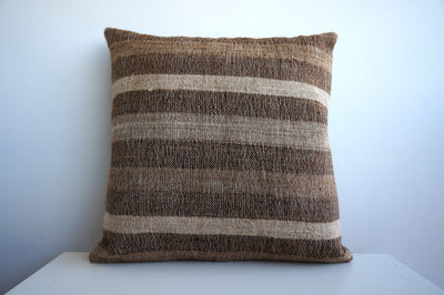CLEARANCE Striped Brown pillow cover  141 - kilimpillowstore  - 2
