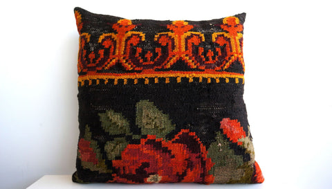 CLEARANCE 16x16 Vintage Hand Woven Turkish Kilim Pillow  - Old  Kilim Cushion 148, Red, Floral, black, orange, green, gold, moldovian - kilimpillowstore  - 1