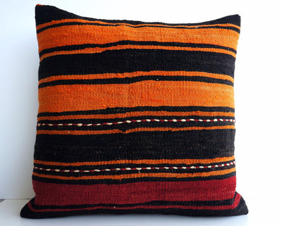 CLEARANCE 16x16 Vintage Hand Woven Turkish Kilim Pillow  - Old  Kilim Cushion 167, beige, brown - kilimpillowstore  - 1