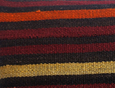 CLEARANCE 16x16 Vintage Hand Woven Turkish Kilim Pillow  - Old  Kilim Cushion 176, black ,orange,red,striped - kilimpillowstore  - 4