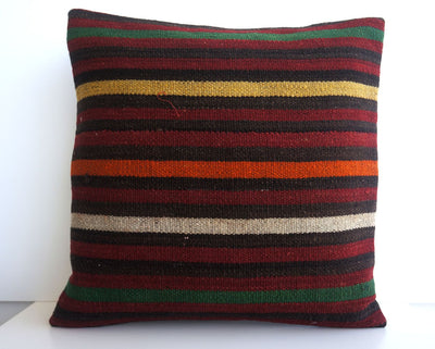 CLEARANCE 16x16 Vintage Hand Woven Turkish Kilim Pillow  - Old  Kilim Cushion 182, black ,orange,red,striped - kilimpillowstore  - 2