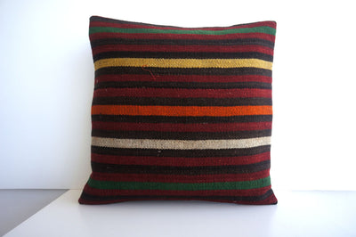 CLEARANCE 16x16 Vintage Hand Woven Turkish Kilim Pillow  - Old  Kilim Cushion 182, black ,orange,red,striped - kilimpillowstore  - 1