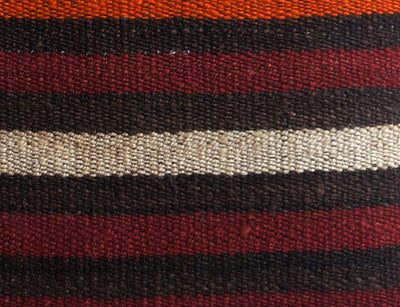 CLEARANCE 16x16 Vintage Hand Woven Turkish Kilim Pillow  - Old  Kilim Cushion 182, black ,orange,red,striped - kilimpillowstore  - 3