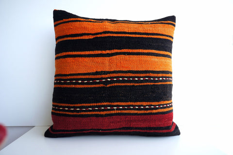 CLEARANCE 16x16 Vintage Hand Woven Turkish Kilim Pillow  - Old  Kilim Cushion 168, black ,orange - kilimpillowstore  - 1