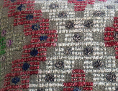 CLEARANCE 16x16 Vintage Hand Woven Turkish Kilim Pillow  - Old  Kilim Cushion 194, gray, white,red,green,tribal - kilimpillowstore  - 4