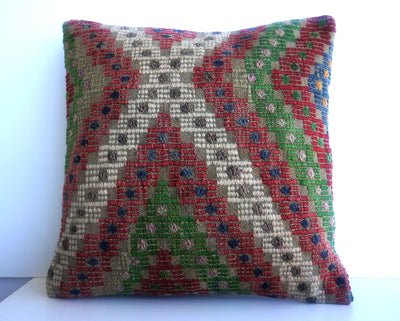 CLEARANCE 16x16 Vintage Hand Woven Turkish Kilim Pillow  - Old  Kilim Cushion 194, gray, white,red,green,tribal - kilimpillowstore  - 2