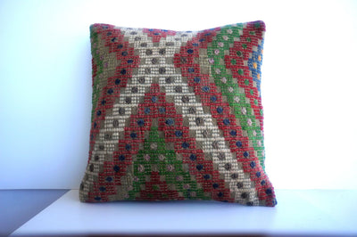 CLEARANCE 16x16 Vintage Hand Woven Turkish Kilim Pillow  - Old  Kilim Cushion 194, gray, white,red,green,tribal - kilimpillowstore  - 1