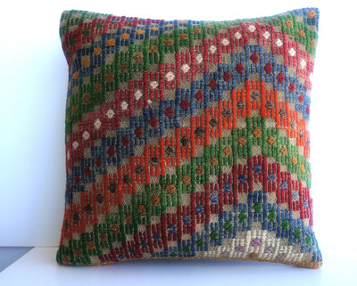 CLEARANCE 16x16 Vintage Hand Woven Turkish Kilim Pillow  - Old  Kilim Cushion 196, gray, white,red,green,blue,orange,tribal - kilimpillowstore  - 2