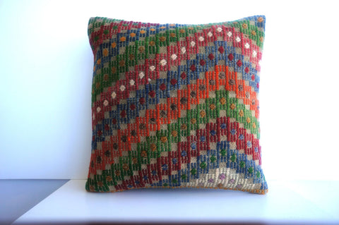CLEARANCE 16x16 Vintage Hand Woven Turkish Kilim Pillow  - Old  Kilim Cushion 196, gray, white,red,green,blue,orange,tribal - kilimpillowstore  - 1