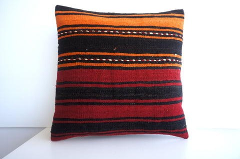 CLEARANCE 16x16 Vintage Hand Woven Turkish Kilim Pillow  - Old  Kilim Cushion 174, black ,orange,red - kilimpillowstore  - 1