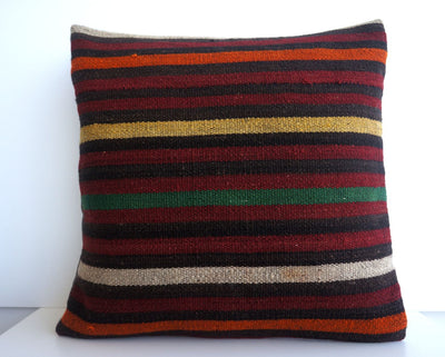 CLEARANCE 16x16 Vintage Hand Woven Turkish Kilim Pillow  - Old  Kilim Cushion 176, black ,orange,red,striped - kilimpillowstore  - 2