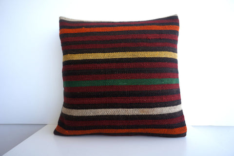 CLEARANCE 16x16 Vintage Hand Woven Turkish Kilim Pillow  - Old  Kilim Cushion 176, black ,orange,red,striped - kilimpillowstore  - 1