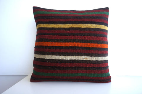 CLEARANCE 16x16 Vintage Hand Woven Turkish Kilim Pillow  - Old  Kilim Cushion 178, black ,orange,red,striped - kilimpillowstore  - 1