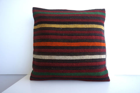 CLEARANCE 16x16 Vintage Hand Woven Turkish Kilim Pillow  - Old  Kilim Cushion 181, black ,orange,red,striped - kilimpillowstore  - 1