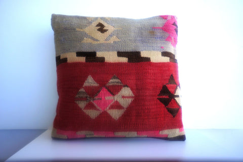CLEARANCE 16x16 Vintage Hand Woven Turkish Kilim Pillow  - Old  Kilim Cushion 191, beige ,pink,red,brown,tribal - kilimpillowstore  - 1