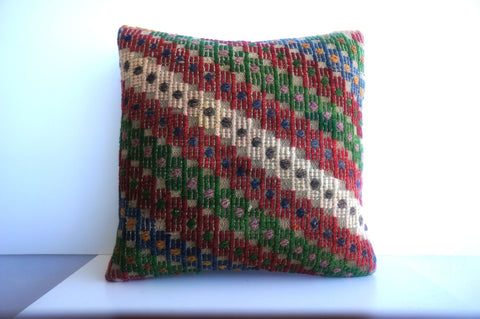 CLEARANCE 16x16 Vintage Hand Woven Turkish Kilim Pillow  - Old  Kilim Cushion 197, gray, white,red,green,blue,tribal - kilimpillowstore  - 1