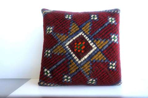 CLEARANCE 16x16 Vintage Hand Woven Turkish Kilim Pillow  - Old  Kilim Cushion 203,amber,claret red,navy blue,stars,tribal - kilimpillowstore  - 1