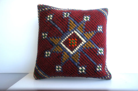 16x16 Vintage Hand Woven Turkish Kilim Pillow  - Old  Kilim Cushion 206,amber,claret red,navy blue,stars,tribal - kilimpillowstore  - 1