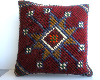 16x16 Vintage Hand Woven Turkish Kilim Pillow  - Old  Kilim Cushion 206,amber,claret red,navy blue,stars,tribal - kilimpillowstore  - 2