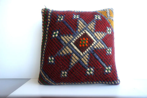 CLEARANCE 16x16 Vintage Hand Woven Turkish Kilim Pillow  - Old  Kilim Cushion 207,amber,claret red,navy blue,stars,tribal - kilimpillowstore  - 1