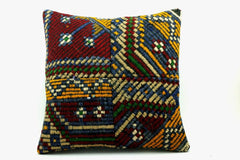 CLEARANCE 16x16 Vintage Hand Woven Turkish Kilim Pillow  - Old  Kilim Cushion 261,amber,claret red,navy blue,tribal - kilimpillowstore  - 1