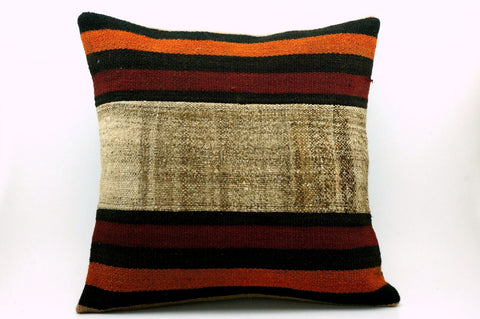 CLEARANCE 16x16 Vintage Hand Woven Turkish Kilim Pillow  - Old  Kilim Cushion 278,black,light brown,orange,claret red,striped - kilimpillowstore  - 1