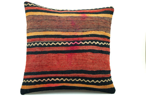 CLEARANCE 16x16 Vintage Hand Woven Turkish Kilim Pillow  - Old  Kilim Cushion 305,black,red,yellow,white ,gray,striped - kilimpillowstore  - 1