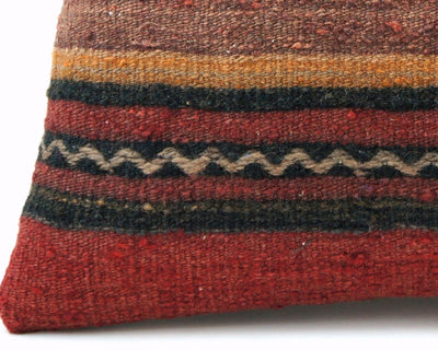 CLEARANCE 16x16 Vintage Hand Woven Turkish Kilim Pillow  - Old  Kilim Cushion 306,black,red,yellow,white ,gray,striped - kilimpillowstore  - 2
