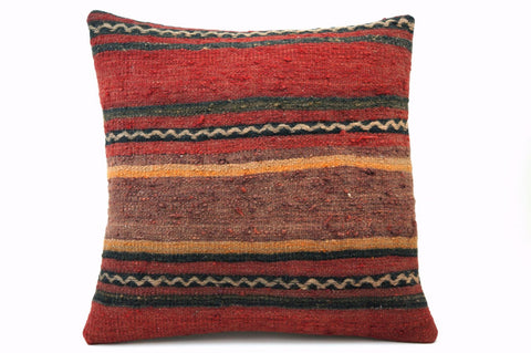CLEARANCE 16x16 Vintage Hand Woven Turkish Kilim Pillow  - Old  Kilim Cushion 306,black,red,yellow,white ,gray,striped - kilimpillowstore  - 1