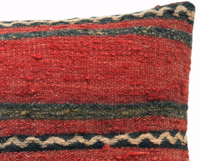 CLEARANCE 16x16 Vintage Hand Woven Turkish Kilim Pillow  - Old  Kilim Cushion 306,black,red,yellow,white ,gray,striped - kilimpillowstore  - 4